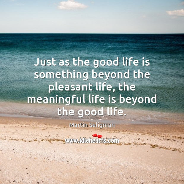 Just as the good life is something beyond the pleasant life, the Martin Seligman Picture Quote