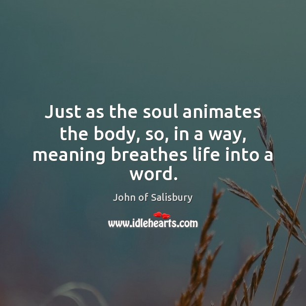 Image, Just as the soul animates the body, so, in a way, meaning breathes life into a word.