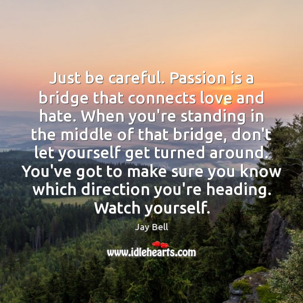 Just be careful. Passion is a bridge that connects love and hate. Love and Hate Quotes Image