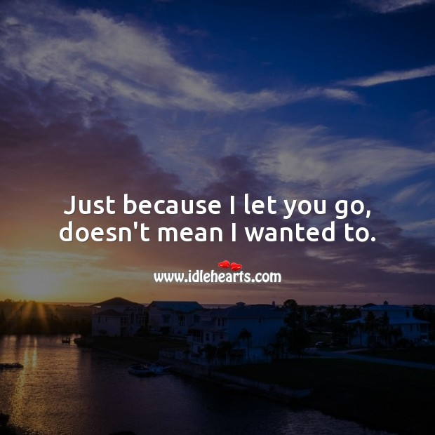 Just because I let you go, doesn't mean I wanted to. Let Go Quotes Image