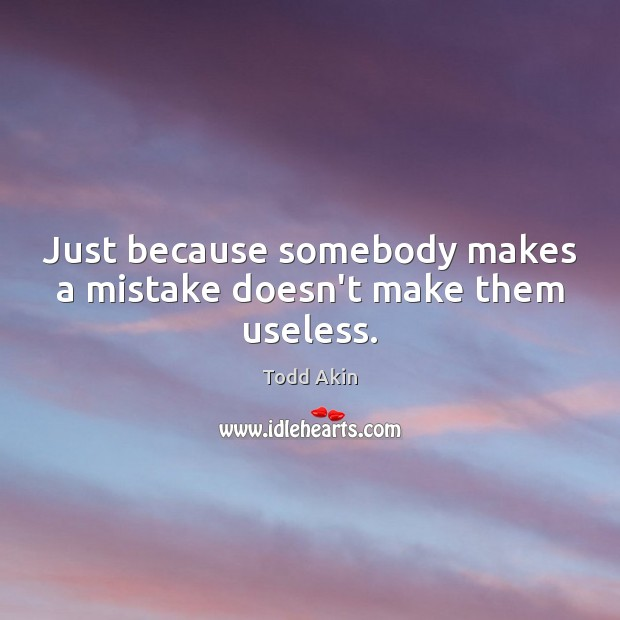 Just because somebody makes a mistake doesn't make them useless. Todd Akin Picture Quote