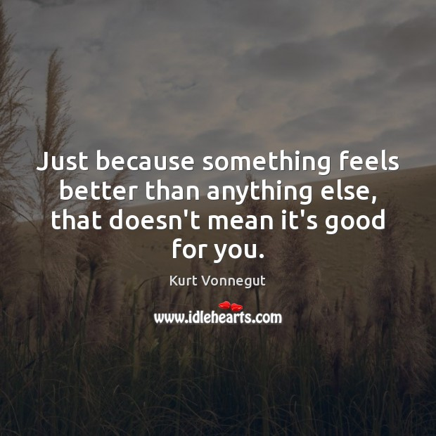Just because something feels better than anything else, that doesn't mean it's Kurt Vonnegut Picture Quote