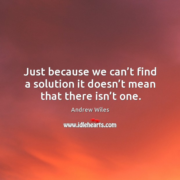 Just because we can't find a solution it doesn't mean that there isn't one. Andrew Wiles Picture Quote
