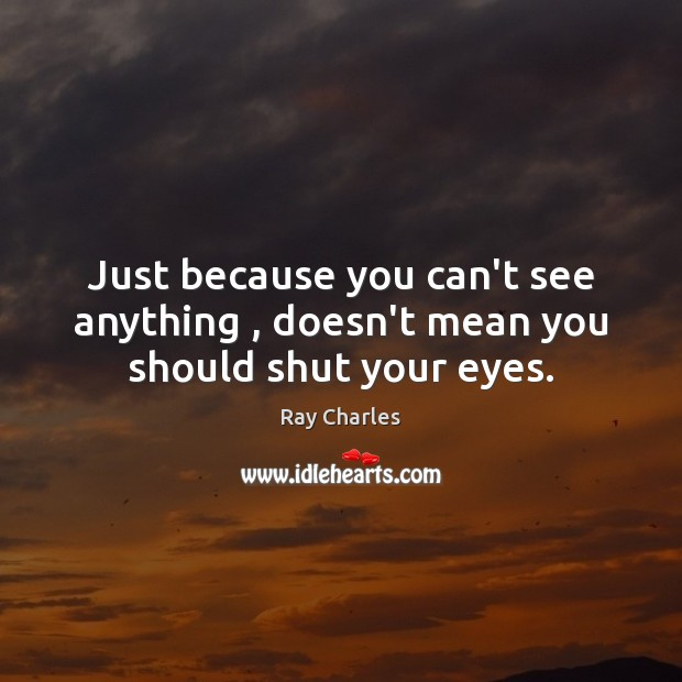 Just because you can't see anything , doesn't mean you should shut your eyes. Ray Charles Picture Quote