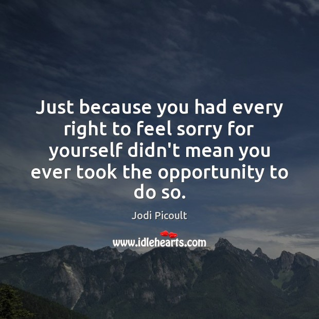 Just because you had every right to feel sorry for yourself didn't Image