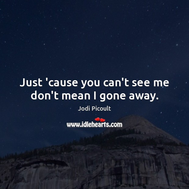 Just 'cause you can't see me don't mean I gone away. Image