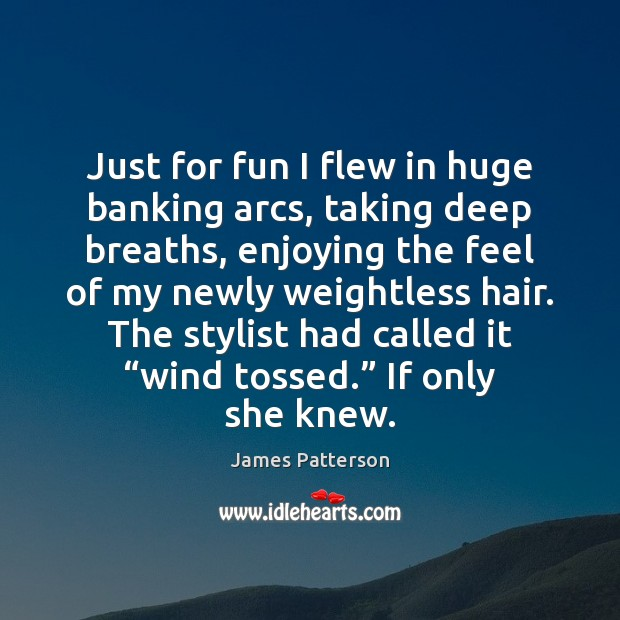 Just for fun I flew in huge banking arcs, taking deep breaths, James Patterson Picture Quote