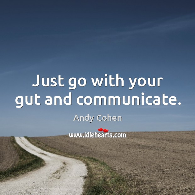 Just go with your gut and communicate. Andy Cohen Picture Quote