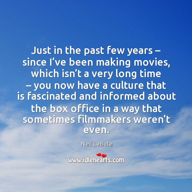Just in the past few years – since I've been making movies Image