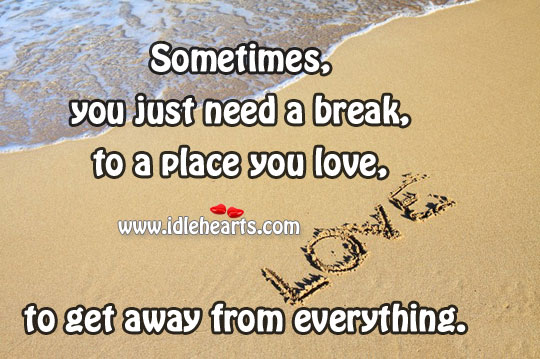 Image, Away, Break, Everything, Get, Get Away, Just, Love, Need, Place, Sometimes, You
