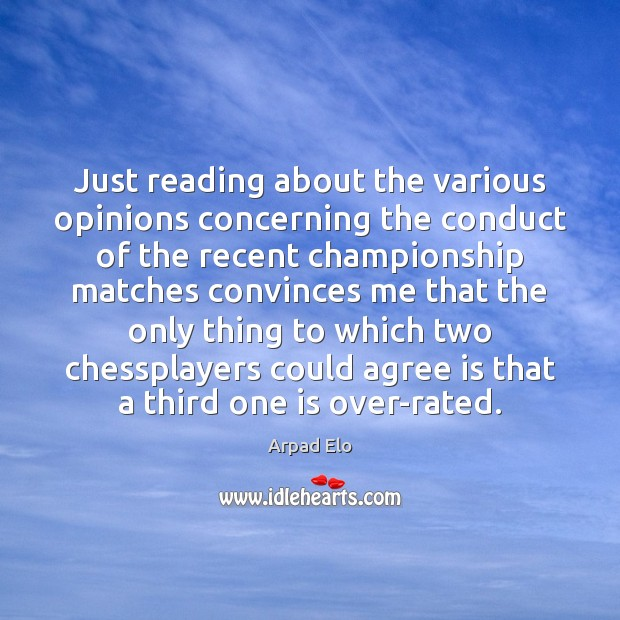 Just reading about the various opinions concerning the conduct of the recent Image