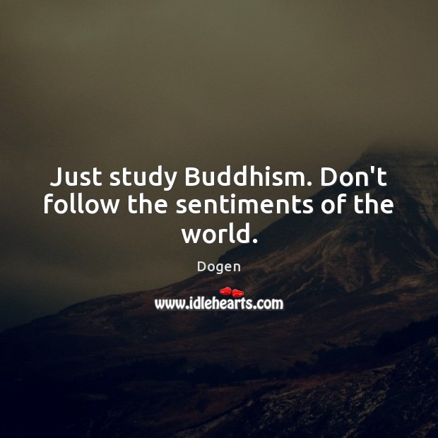 Just study Buddhism. Don't follow the sentiments of the world. Image