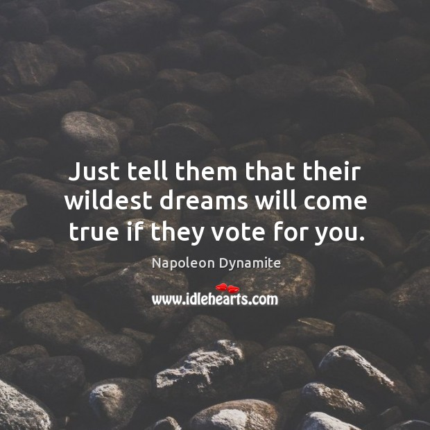 Just tell them that their wildest dreams will come true if they vote for you. Image