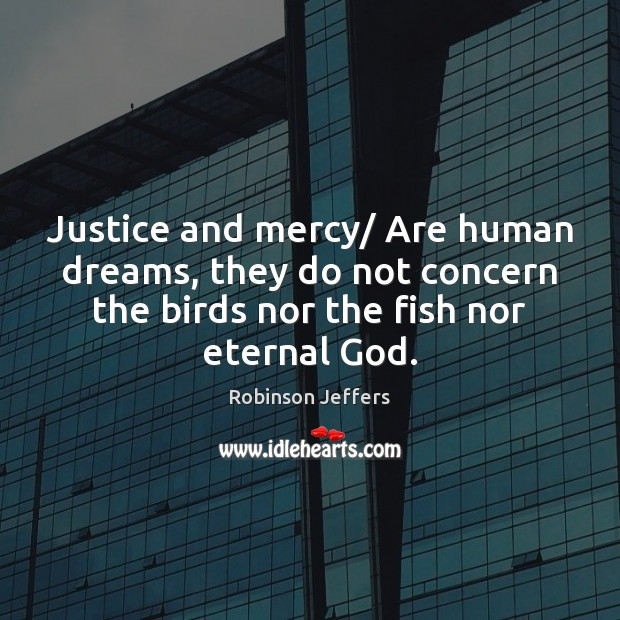 Justice and mercy/ Are human dreams, they do not concern the birds Robinson Jeffers Picture Quote