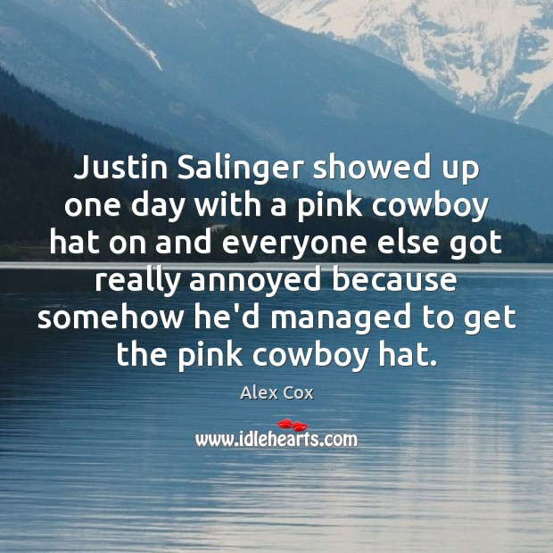 Image, Justin Salinger showed up one day with a pink cowboy hat on
