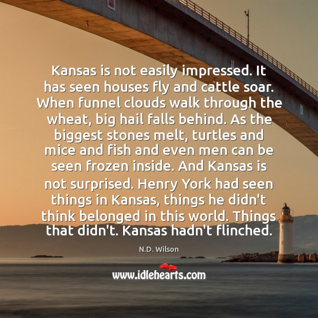 Kansas is not easily impressed. It has seen houses fly and cattle Image