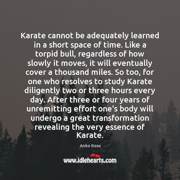 Image, Karate cannot be adequately learned in a short space of time. Like