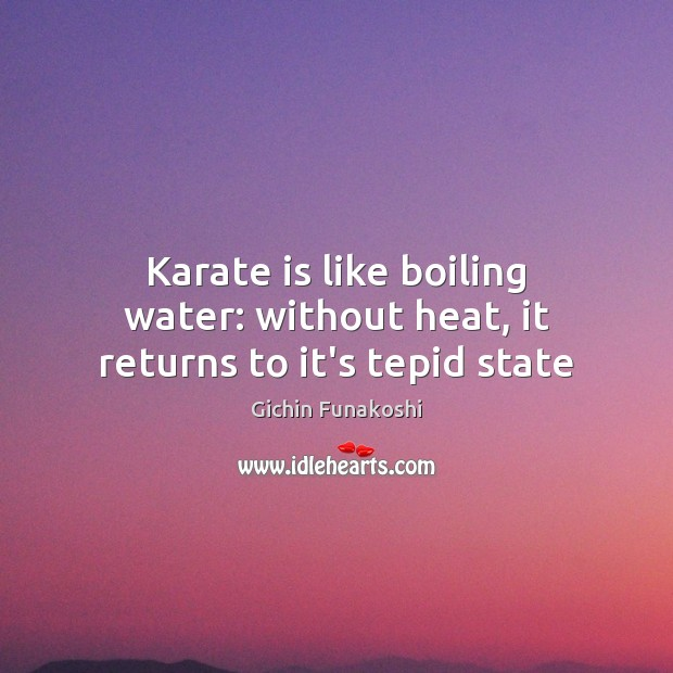 Karate is like boiling water: without heat, it returns to it's tepid state Gichin Funakoshi Picture Quote