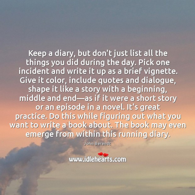 Image, Keep a diary, but don't just list all the things you did