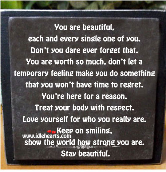 Keep on smiling. Stay beautiful. Image