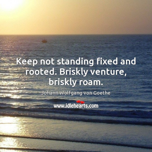 Image, Keep not standing fixed and rooted. Briskly venture, briskly roam.