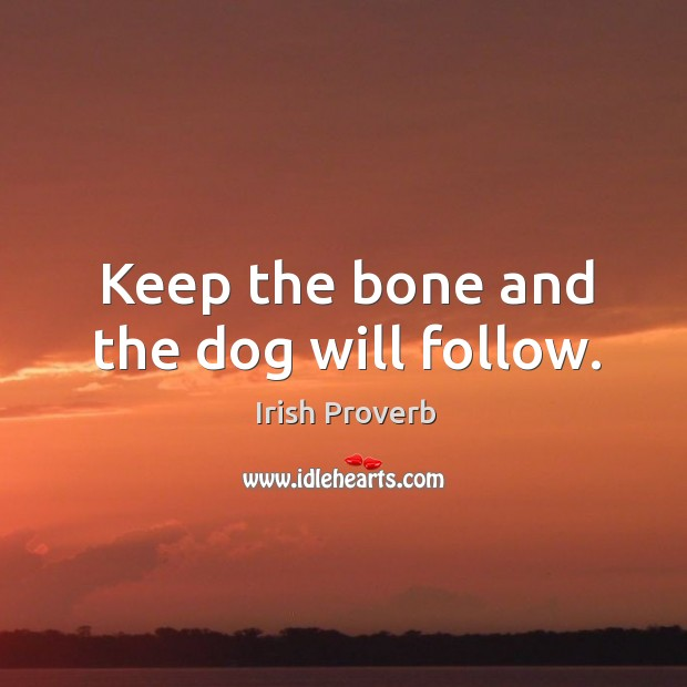 Keep the bone and the dog will follow. Irish Proverbs Image