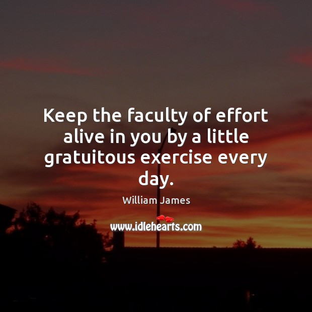 Keep the faculty of effort alive in you by a little gratuitous exercise every day. William James Picture Quote