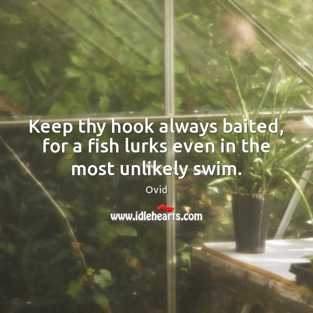 Keep thy hook always baited, for a fish lurks even in the most unlikely swim. Ovid Picture Quote