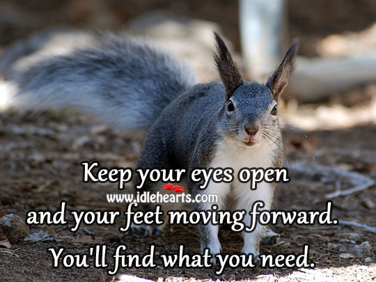 Keep Your Eyes Open And Your Feet Moving Forward.