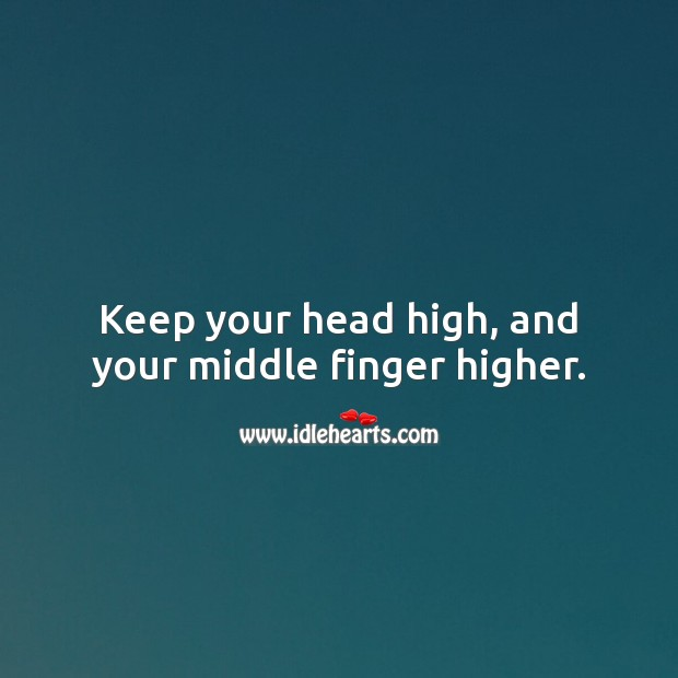 Keep your head high, and your middle finger higher. Funny Quotes Image