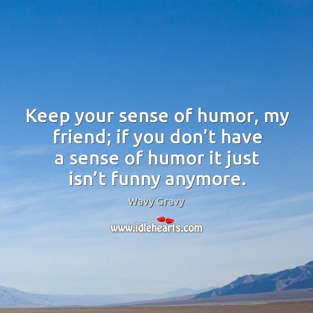 Keep your sense of humor, my friend; if you don't have a sense of humor it just isn't funny anymore. Wavy Gravy Picture Quote