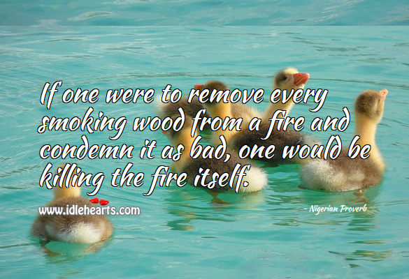 If one were to remove every smoking wood from a fire and condemn it as bad, one would be killing the fire itself. Nigerian Proverbs Image