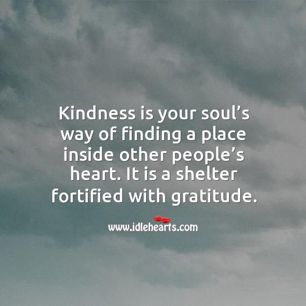 Kindness is your soul's way of finding a place inside other people's heart. It is a shelter fortified with gratitude. Image