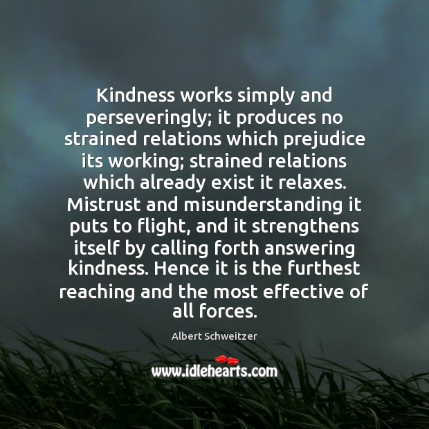 Kindness works simply and perseveringly; it produces no strained relations which prejudice Misunderstanding Quotes Image