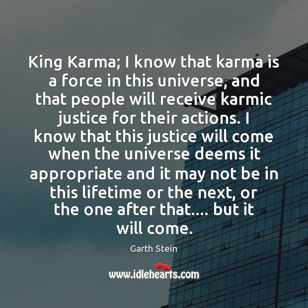 King Karma; I know that karma is a force in this universe, Garth Stein Picture Quote