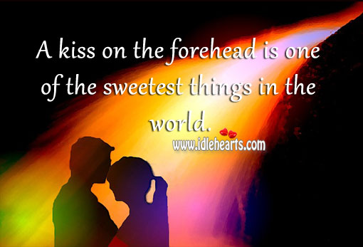 A kiss on the forehead. Image