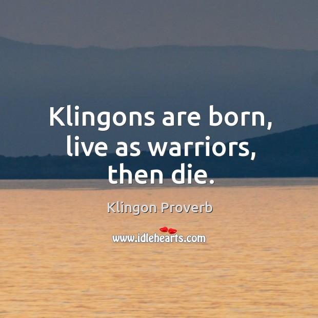 Klingons are born, live as warriors, then die. Klingon Proverbs Image