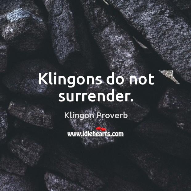 Klingons do not surrender. Klingon Proverbs Image