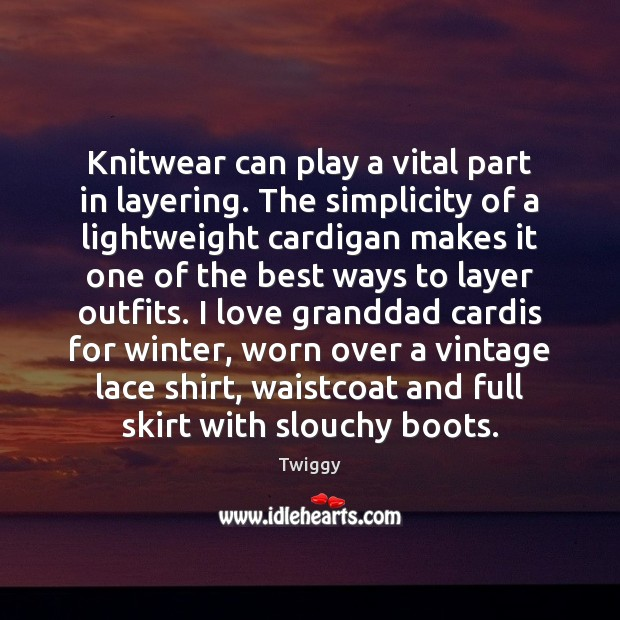 Knitwear can play a vital part in layering. The simplicity of a Image