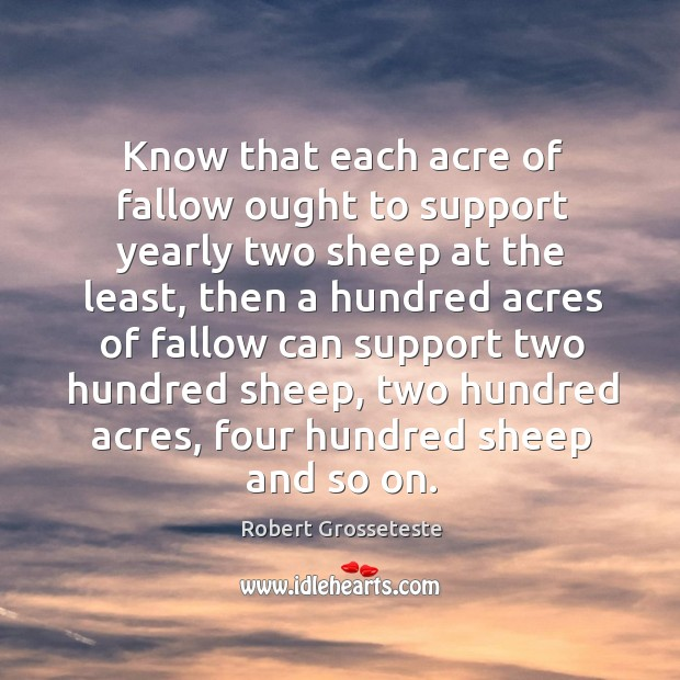 Know that each acre of fallow ought to support yearly two sheep at the least Robert Grosseteste Picture Quote