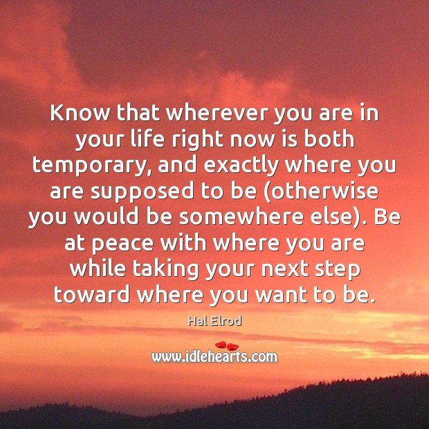 Know that wherever you are in your life right now is both Hal Elrod Picture Quote