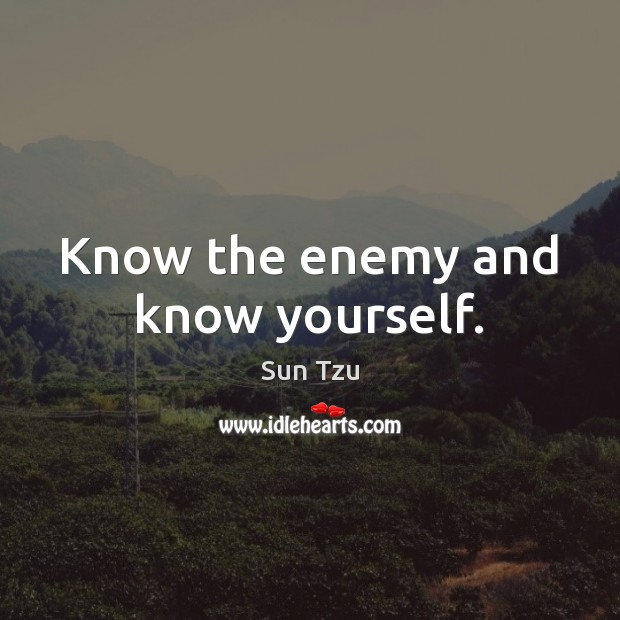 Image, Know the enemy and know yourself.