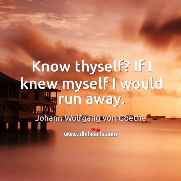 Know thyself? if I knew myself I would run away. Image