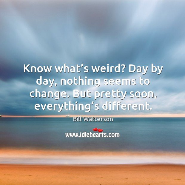 Image, Know what's weird? day by day, nothing seems to change. But pretty soon, everything's different.