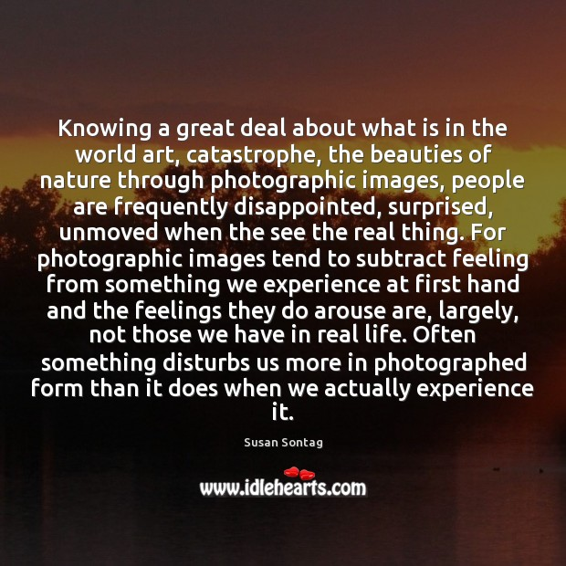 Knowing a great deal about what is in the world art, catastrophe, Image