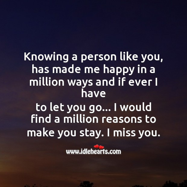 Knowing a person like you Missing You Messages Image
