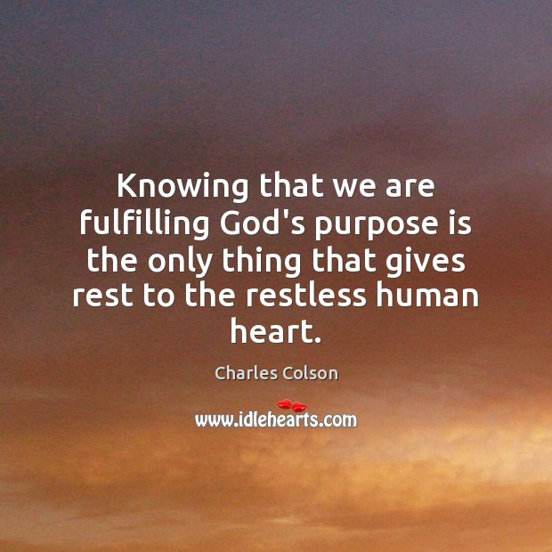Knowing that we are fulfilling God's purpose is the only thing that Charles Colson Picture Quote