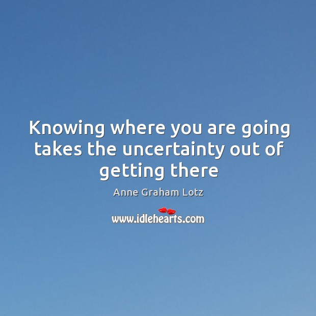 Image, Knowing where you are going takes the uncertainty out of getting there
