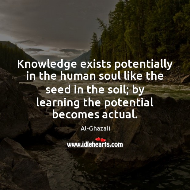 Knowledge exists potentially in the human soul like the seed in the Image