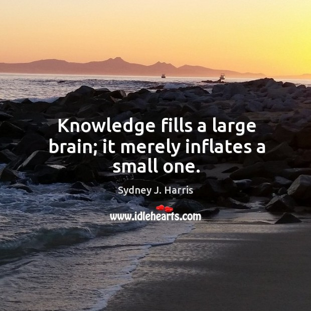 Knowledge fills a large brain; it merely inflates a small one. Image